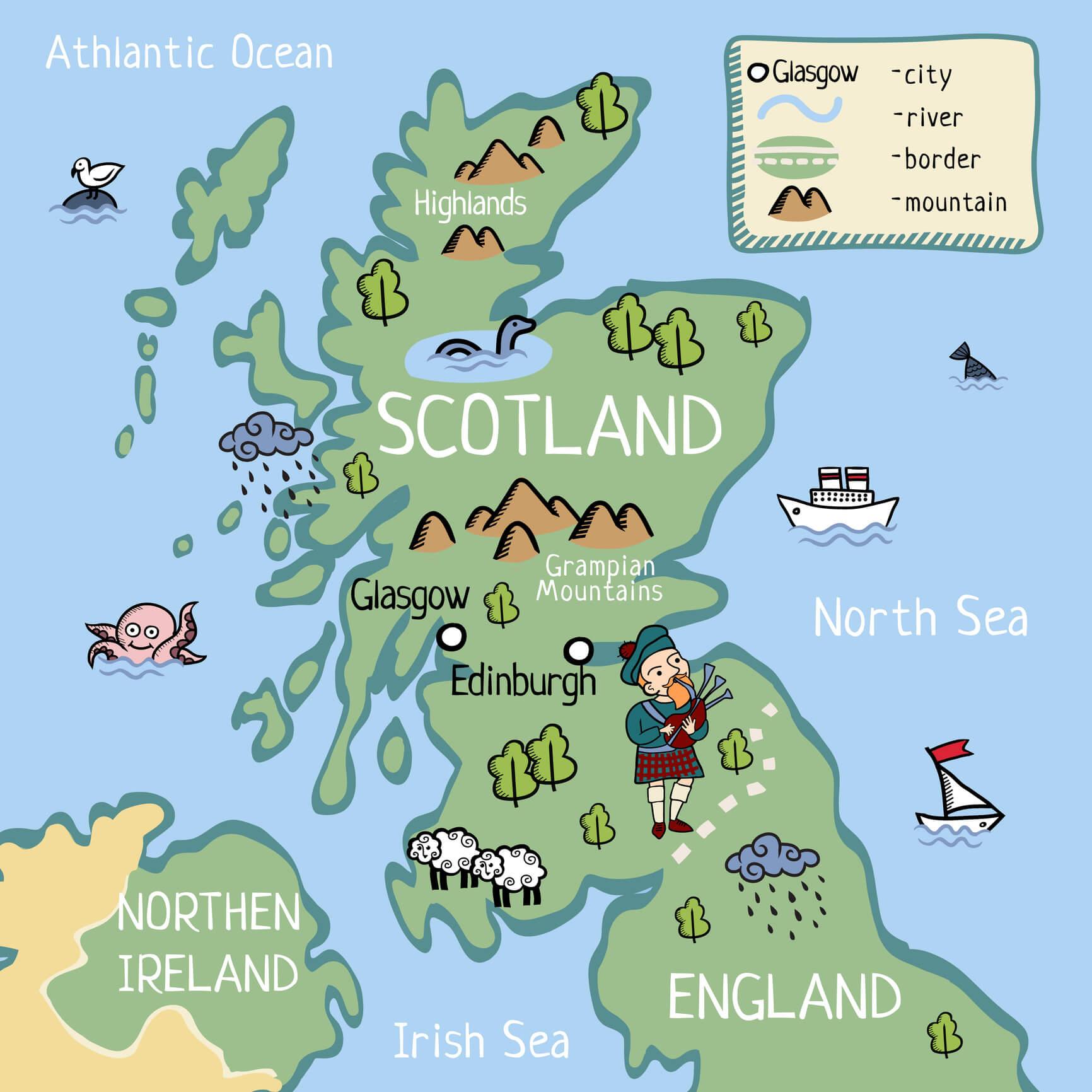 Kaart Van Schotland Dwars Door Schotland
